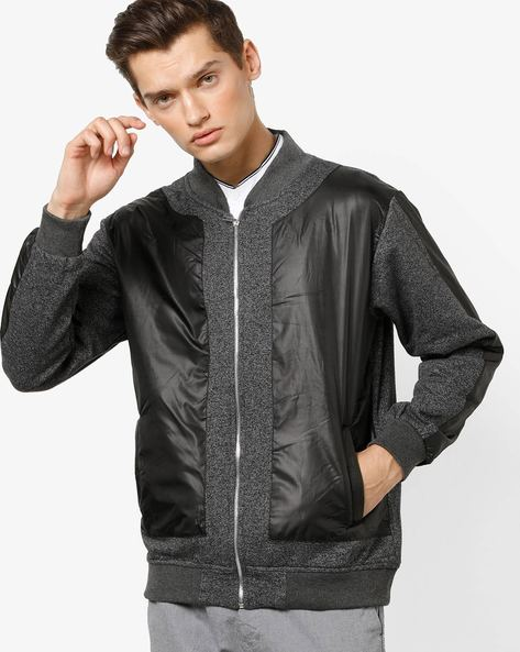 Front-Zip Panelled Jacket With Insert Pockets By Campus Sutra ( Grey )