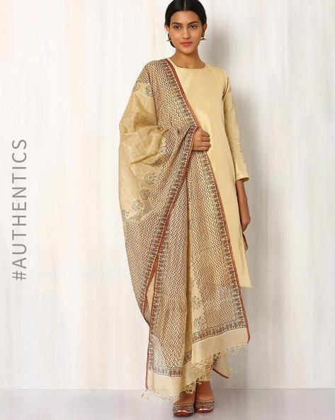 Hand Block Print Tussar Dupatta With Tissue By Indie Picks ( Multi ) - 460017103001