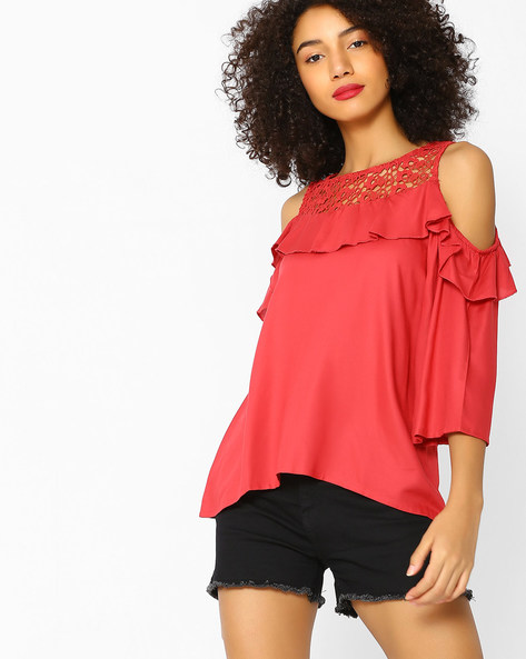 Cold-Shoulder Top With Lace Yoke By DNMX ( Red )