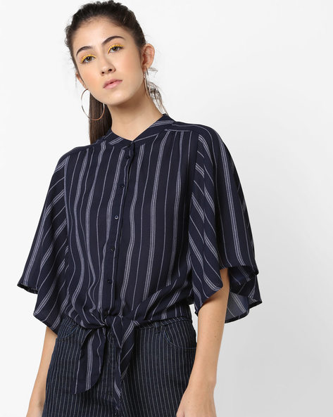 Striped Shirt Top With Front Tie-Up By AJIO ( Navy )