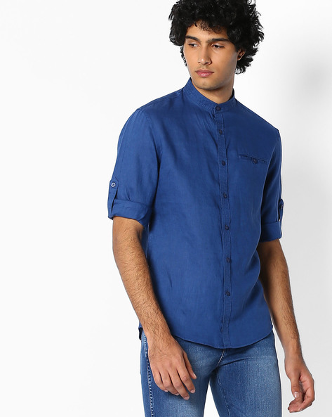 Pure Linen Shirt With Mandarin Collar By Celio ( Blue )