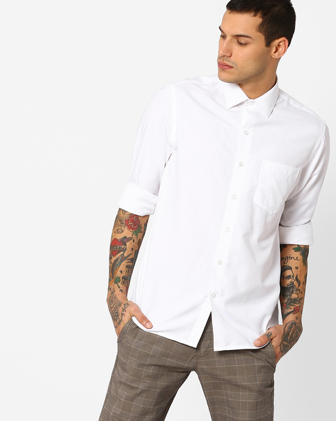 Classic Shirt With Spread Collar By JOHN PLAYERS ( White )