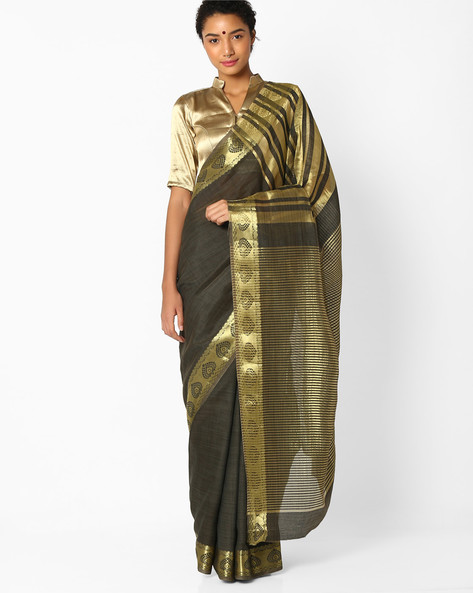 Saree With Striped Pallu And Zari Border By Amori ( Grey )