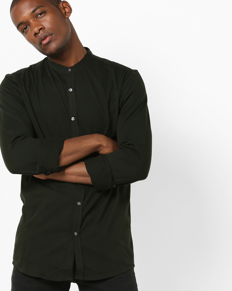 Slim Fit Shirt With Band Collar By Jack & Jones ( Grey )