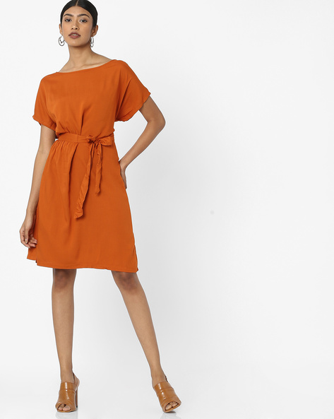 Knee-Length Dress With Waist Tie-Up By Tokyo Talkies ( Rust )