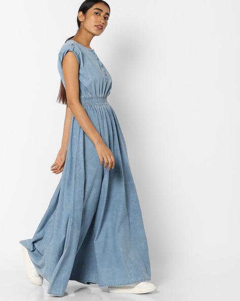 Cotton Maxi Dress By Tokyo Talkies ( Blue )