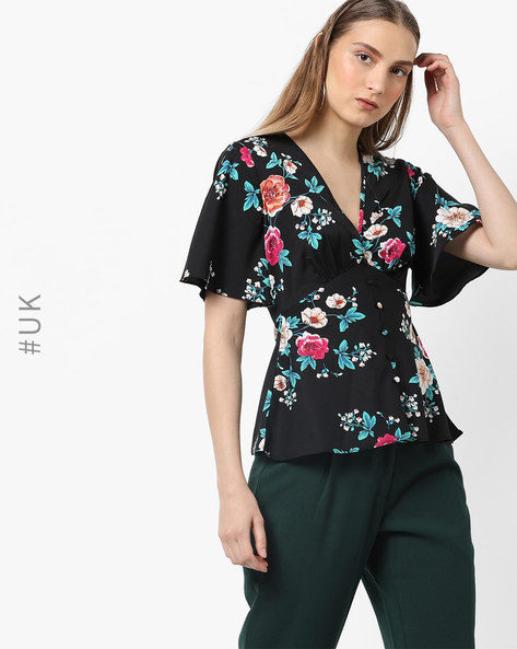 Floral Print Top With Kaftan Sleeves By INFLUENCE ( Black )
