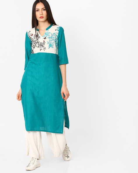 Printed Cotton Straight Kurta By AURELIA ( Assorted )