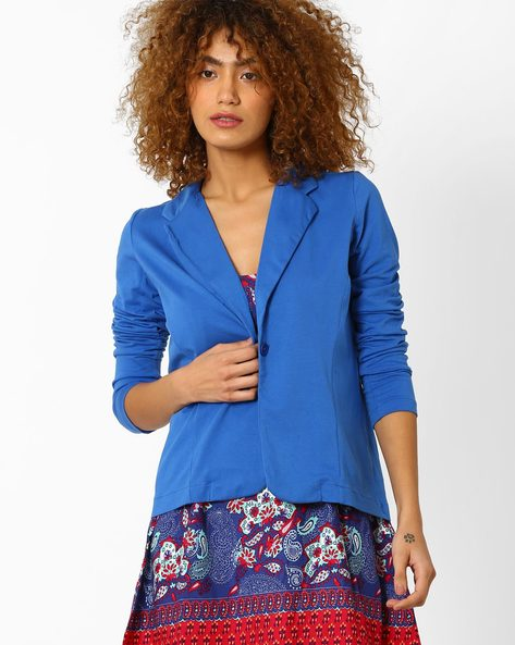 Cotton Jacket With Notched Lapel By Style Quotient By Noi ( Blue )