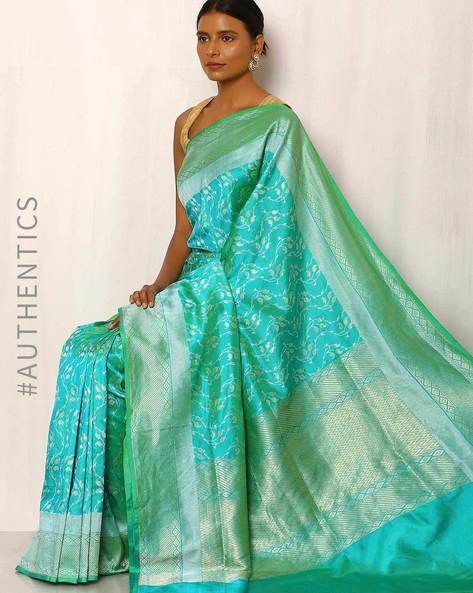 Banarasi Pure Silk Katan Saree By Indie Picks ( Green )