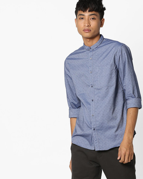 Micro Print Shirt With Patch Pocket By AJIO ( Blue )