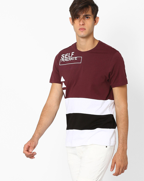 Cut & Sew Colourblock Crew-Neck T-shirt By AJIO ( Maroon )