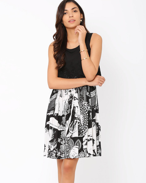 Pleated Dress With Eyelet Embroidery By Akkriti By Pantaloons ( Black )