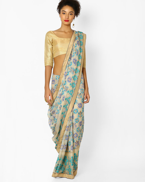 Embroidered Chiffon Saree With Blouse By Parmita ( Blue )