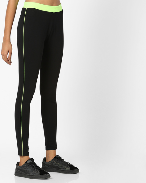 Mid-Rise Leggings With Elasticated Waist By Teamspirit ( Green )