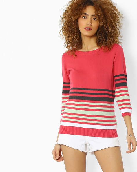 Striped Flat Knit Top By FIG ( Magntafusha )