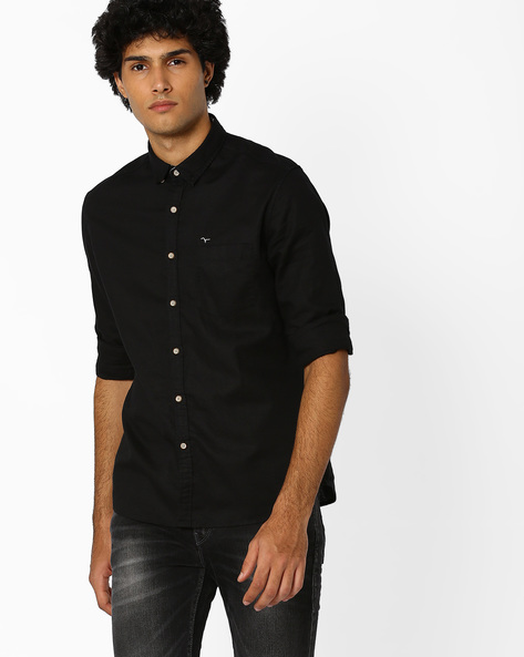 Shirt With Button-Down Collar By FLYING MACHINE ( Black )