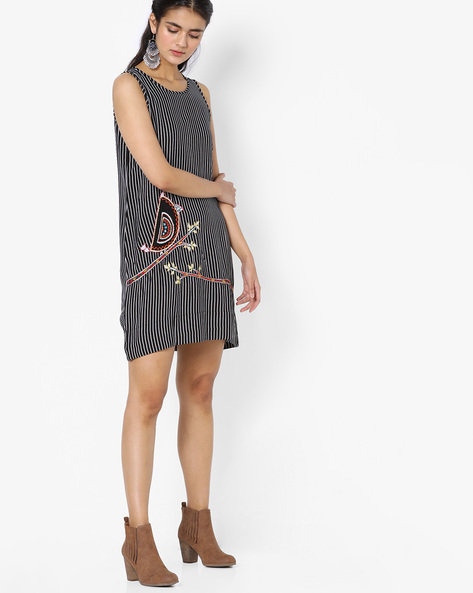 Striped Dress With Embroidery By Global Desi ( Black )