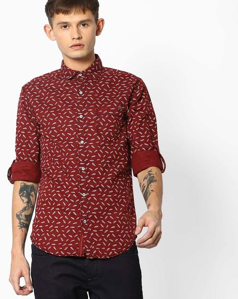 Fish Print Shirt With Roll-Up Tabs By MUFTI ( Maroon )