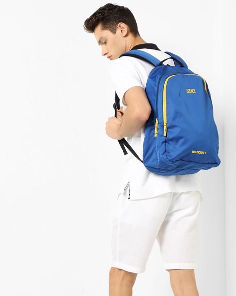 Colourblock Backpack With Brand Print By Wildcraft ( Blue )