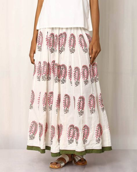 Handblock Print Cotton Long Skirt By Pink Lemon ( White ) - 460016556001