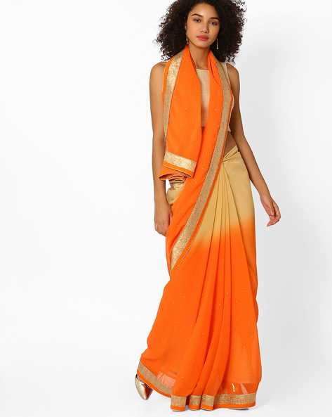 Ombre-Dyed Saree With Contrast Border By Viva N Diva ( Orange )