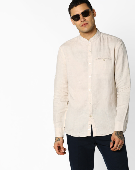 Linen Shirt With Band Collar By Celio ( Grey )