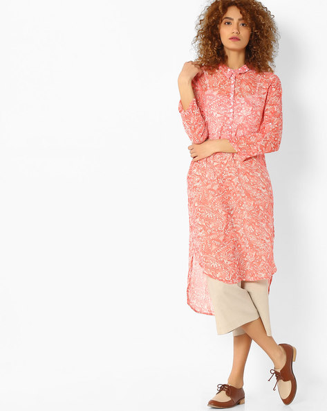 Printed Sheer Kurta With High-Low Hem By Melange By Lifestyle ( Coral )