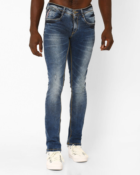 Washed Distressed Skinny Jeans By SPYKAR ( Dkblue )