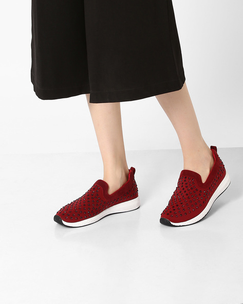 Embellished Casual Slip-Ons By Jove ( Maroon )
