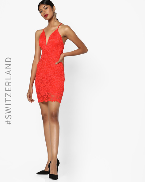 Lace Bodycon Dress With Scalloped Hemline By TALLY WEiJL ( Red )