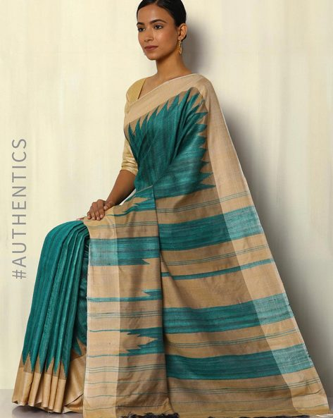 Pure Silk Handloom Ghicha Saree With Temple Border By Pretty Woman ( Green )