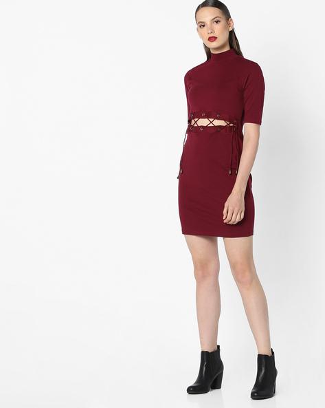 High-Neck Bodycon Dress By AJIO ( Maroon )