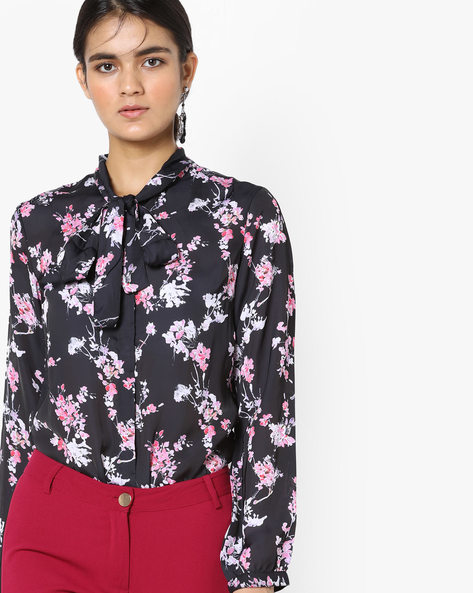 Floral Print Shirt With Tie-Up By Project Eve WW Work ( Black )