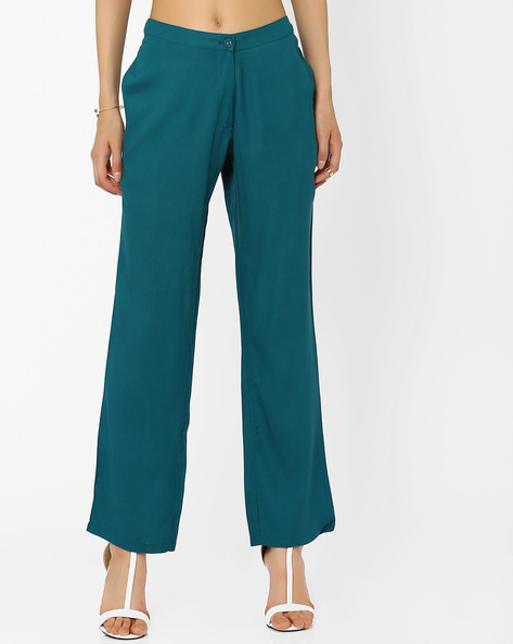 Trousers With Seam Pockets By AJIO ( Teal )