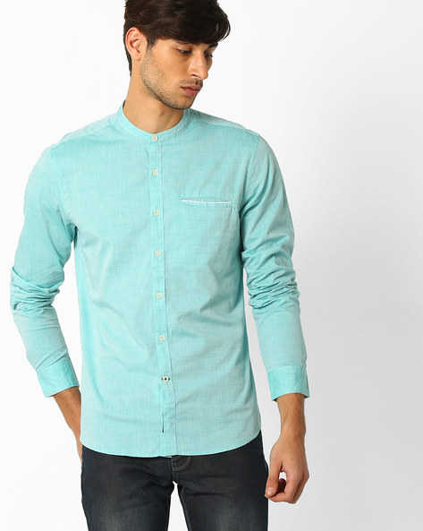 Regular Fit Shirt With Mandarin Collar By NETPLAY ( Green )