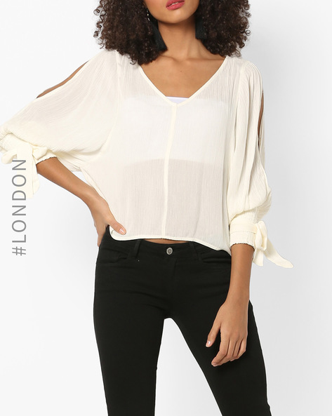 Sheer Top With Sleeve Cutouts By Glamorous ( White )