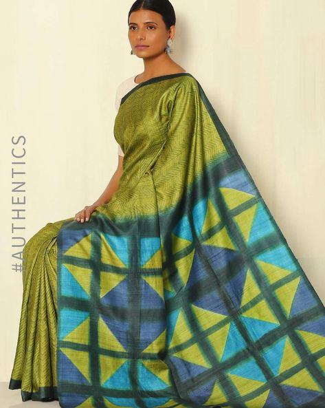 Handblock Print Pure Silk Desi Tussar Handloom Saree With Itajime Pallu By Sujata Weaves And Prints ( Olive )