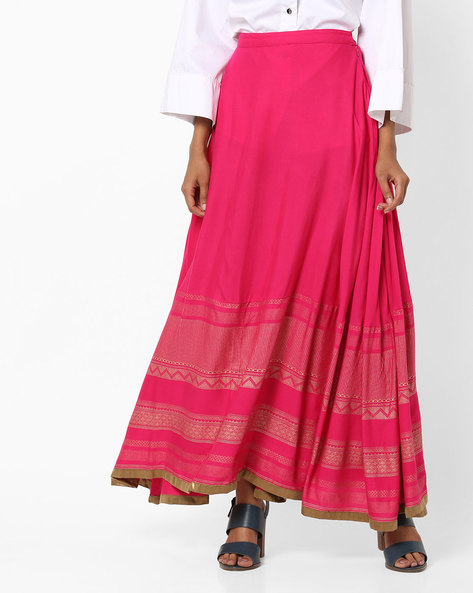 Pleated Straight Skirt With Foil Print Hems By AMARE ( Pink )