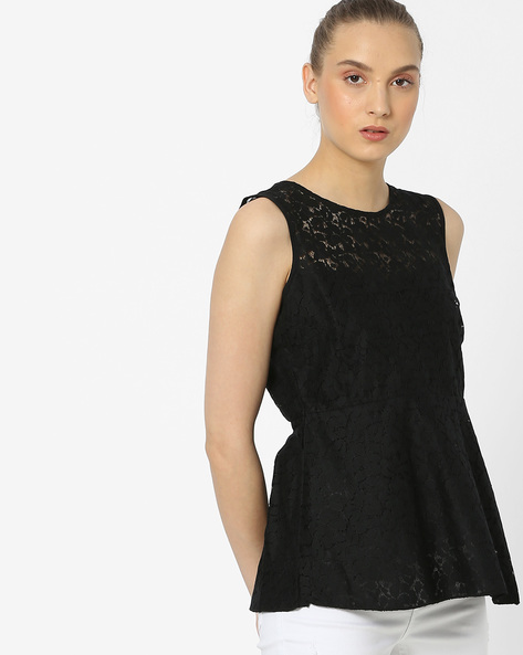 Sleeveless Lace Top By Amari West ( Black )