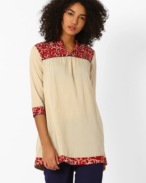Cotton Tunic With Mandarin Collar By AJIO ( Beige )
