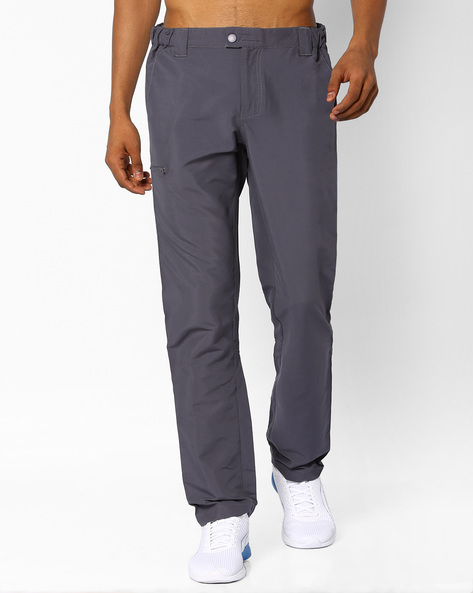 Cotton Stretch Trousers With Zip Pockets By AJIO ( Grey )
