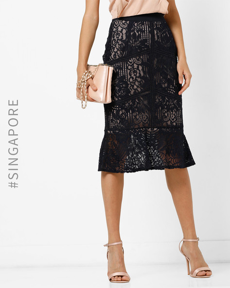 Sheer Lace Skirt With Flared Hem By MDS ( Navyblue )