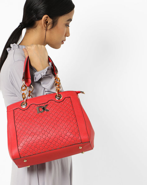 Satchel Bag With Detachable Sling By Diana Korr ( Red )
