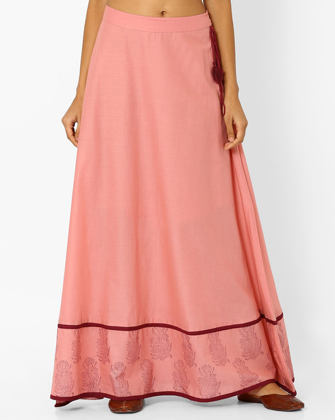 Maxi Skirt With Floral Print Border By AJIO ( Pink )