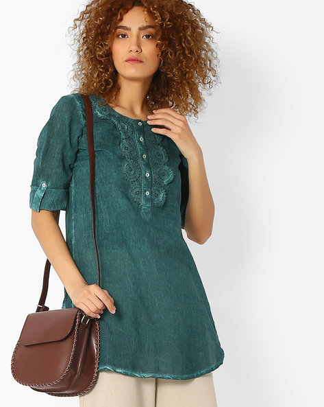 Kurti With Crochet Overlay By Melange By Lifestyle ( Teal )