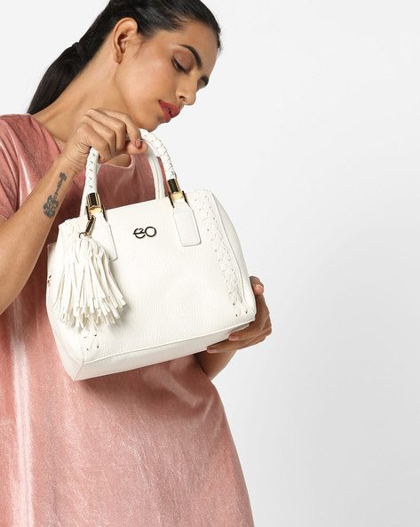 Textured Satchels With Tassels By E2O ( White )
