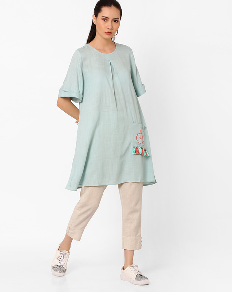 Tunic With Upturned Hems By AJIO ( Teal )