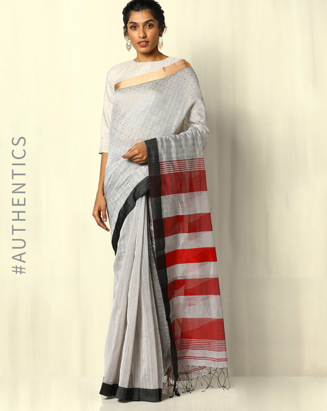 Handloom Bengal Cotton Silk Sequin Saree With Fringes By Indie Picks ( Grey )