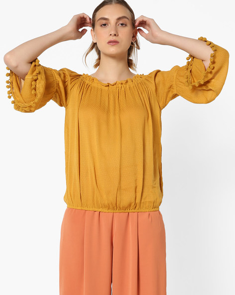 Ruffle-Neck Top With Bell Sleeves By Vero Moda ( Golden )